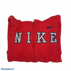 Boys Nike Full Zip Spellout Hoodie Size XL Red